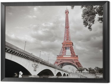 Obraz w Ramie Wieża Eiffla monochromatyczny selektywne koloryzacja