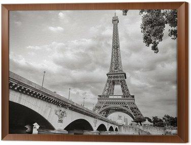 Obraz w Ramie Wieża Eiffla widok z rzeki kwadratowym formacie seine