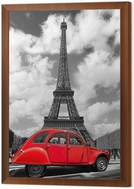 Obraz w Ramie Wieża Eiffla z czerwonym starym samochodem w Paryżu, Francja