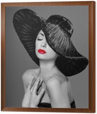 Obraz w Ramie Wspaniała kobieta w kapeluszu