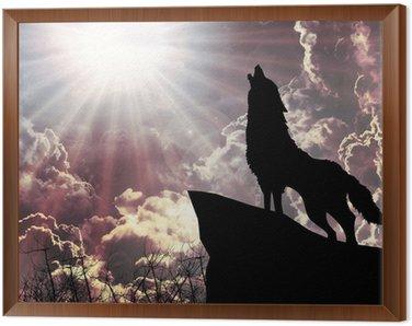 Obraz w Ramie Wycie wilka w sylwetce do pełni księżyca