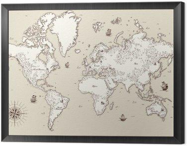 Obraz w Ramie Wysoka szczegółowy, Stary mapa świata z elementami dekoracyjnymi