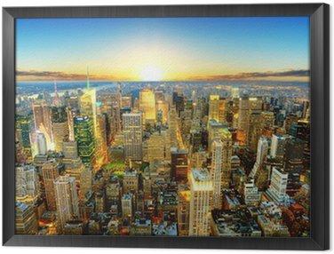 Obraz w Ramie Zachód słońca nad Nowym Jorku.