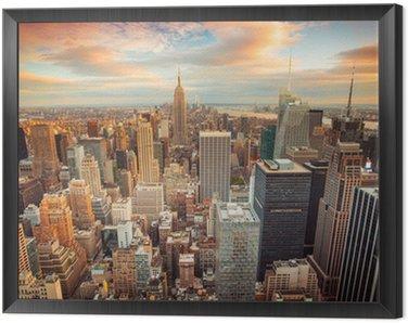 Obraz w Ramie Zachód słońca widok na Nowy Jork Midtown Manhattan, patrząc na