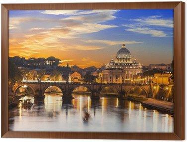 Obraz w Ramie Zachód słońca widok z Bazyliki Świętego Piotra i rzekę Tyber w Rzymie. Włochy