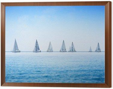 Obraz w Ramie Żaglówka jacht regaty wyścig na wodzie morza lub oceanu