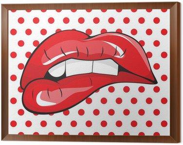 Obraz w Ramie Zagryzając zęby czerwone usta pop-art