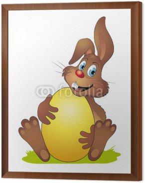 Obraz w Ramie Zajączek przytulanie się żółty jajko