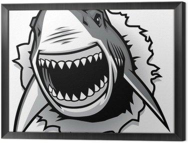 Obraz w Ramie Żarłacz biały zgrywanie z otwartymi ustami