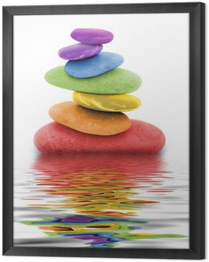 Obraz w Ramie Zen kamienie w wodzie tęczy