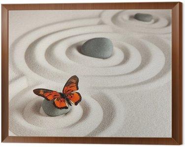 Obraz w Ramie Zen kamienie z motylem