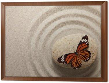 Obraz w Ramie Zen rock z motylem