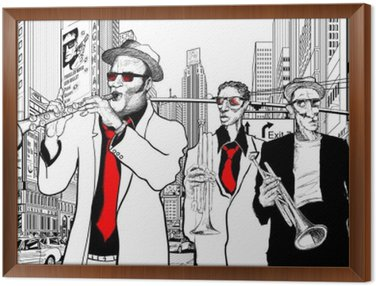 Obraz w Ramie Zespół jazzowy w ulicy Nowym Jorku