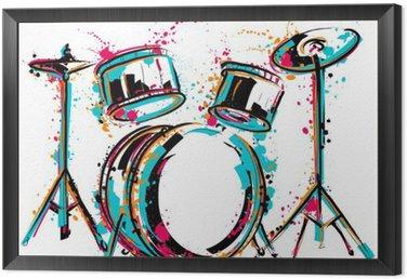 Zestaw perkusyjny z odpryskami w stylu akwareli. Kolorowe ręcznie rysowane ilustracji wektorowych