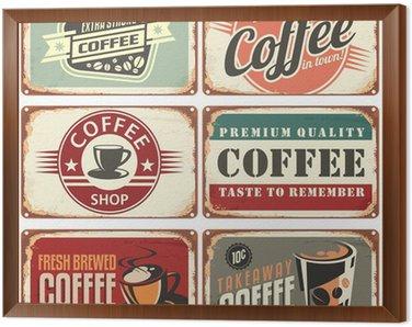 Obraz w Ramie Zestaw rocznika kawy znaki cyny