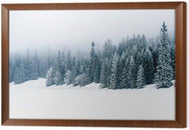 Obraz w Ramie Zima, biały, las i śnieg, Boże Narodzenie
