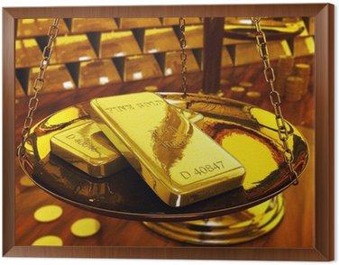 Obraz w Ramie Złoto wlewki skali mosiądzu, ilustracji 3d