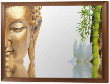 Obraz w Ramie Złoty Budda, bambus i biały kwiat lotosu