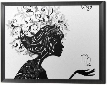 Obraz w Ramie Znak zodiaku panna znak. dziewczyna mody