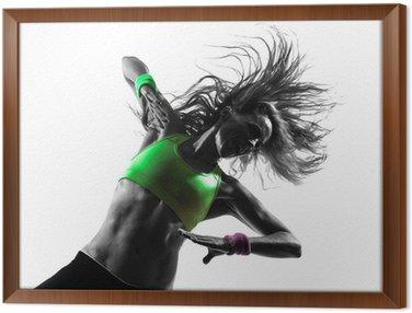 Obraz w Ramie Zumba kobieta wykonywania ćwiczeń sylwetka taniec