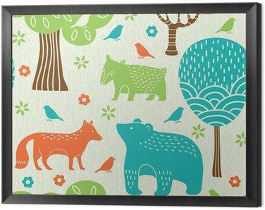 Obraz w Ramie Zwierzęta leśne powtarzalne