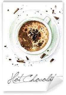 Omyvatelná Fototapeta Akvarel Food Malba - Hot Chocolate