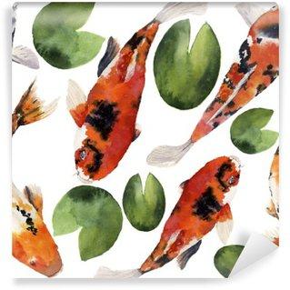 Omyvatelná Fototapeta Akvarel orientální duha kapr s vodou lilie bezproblémové vzorek. Koi ryby ornament na bílém pozadí. Podvodní ilustrace pro návrh, pozadí nebo textilie