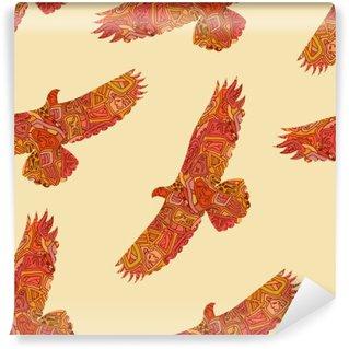 Omyvatelná Fototapeta Bezešvé dekorativní tribal vzor s orly. vektor illustrat