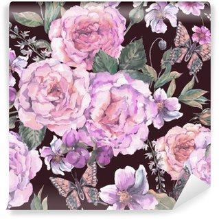 Omyvatelná Fototapeta Bezešvé pozadí s růží a motýl