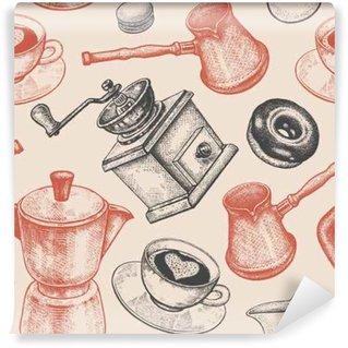 Omyvatelná Fototapeta Bezešvé vzor je především o kávě.