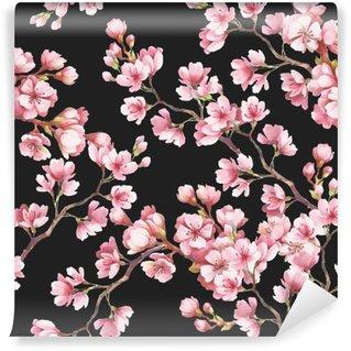 Omyvatelná Fototapeta Bezproblémové vzorek s třešňové květy. Akvarel ilustrace.