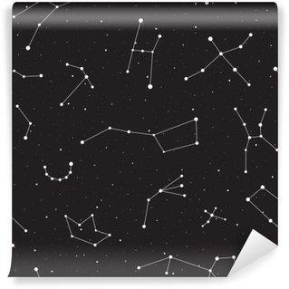 Omyvatelná Fototapeta Hvězdná noc, bezešvé vzor, pozadí s hvězdami a souhvězdími, vektorové ilustrace
