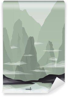 Omyvatelná Fototapeta Jihovýchodní Asie krajina vektorové ilustrace s kameny, útesy a moře. Čína nebo Vietnam propagace cestovního ruchu.