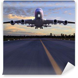 Omyvatelná Fototapeta Letadlo přistání 3D ilustrace