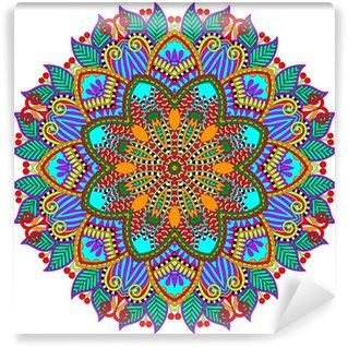 Omyvatelná Fototapeta Mandala, kruh ozdobný duchovní indický symbol lotosu