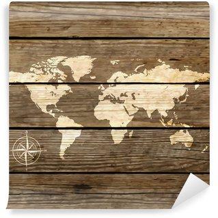 Omyvatelná Fototapeta Mapa světa na dřevěné desce vektoru
