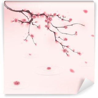 Omyvatelná Fototapeta Orientální styl malby, třešňové květy na jaře