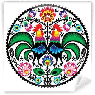 Omyvatelná Fototapeta Polský květinová výšivka s Roosters lidové vzorem