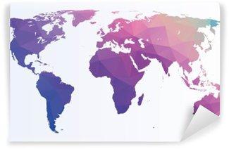 Omyvatelná Fototapeta Polygonální mapa světa