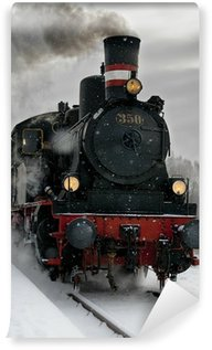 Omyvatelná Fototapeta Staré parní lokomotiva ve sněhu