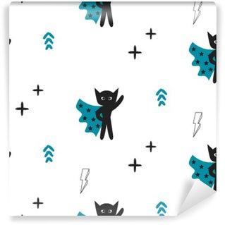 Omyvatelná Fototapeta Superhrdina v modrém mys s hvězdami bezproblémové dítě vzorek. Hero chlapec v masce černé a bílé vzor pro dítě textilních potisků.