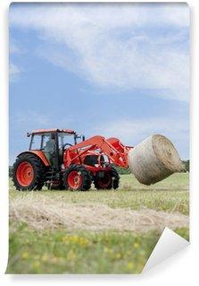 Omyvatelná Fototapeta Traktory Hauling Round Bale