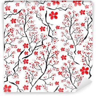 Omyvatelná Fototapeta Vintage akvarel vzor - dekorativní větev třešně, třešeň, rostliny, květiny, prvky. Může být použit v designu, obalů, textilií a tak dále.