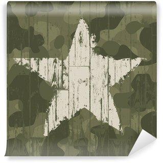 Omyvatelná Fototapeta Vojenské maskování pozadí s hvězdou. Vektor, EPS10.