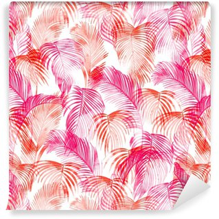 Tropické akvarel vzor. palmy a tropických větví v bezproblémové tapety na bílém pozadí. digitální umění. lze použít pro manufakturu a textil