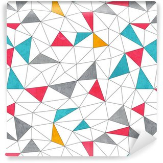 Papel de Parede em Vinil abstract color triangle seamless pattern with grunge effect