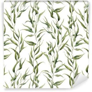 Papel de Parede em Vinil Aquarela padrão sem emenda floral verde com folhas de eucalipto. Entregue o teste padrão pintado com ramos e folhas de eucalipto isoladas no fundo branco. Para o projeto ou o fundo