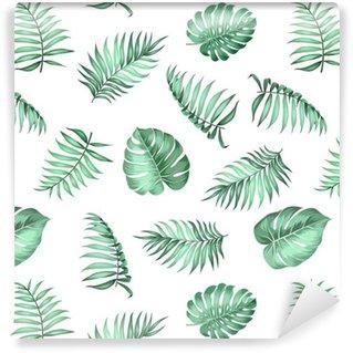Folhas de palmeira tópica sobre padrão sem emenda por textura de tecido. ilustração do vetor.