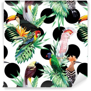Papel de Parede em Vinil Aves tropicais e folhas de palmeira padrão