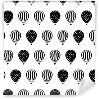Papel de Parede em Vinil Balão de ar quente seamless pattern. ilustrações do chá de fraldas do vetor isolado no fundo branco. às bolinhas e listras. design de balões de ar quente preto e branco.